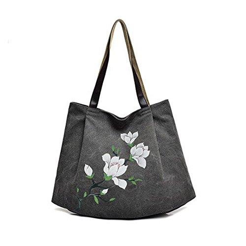 Gray Canvas Joker Lady's Grande Dipinta Nera Mano Gwqgz Capacità Di A Borsa Tracolla Handbag 5O5SnYg