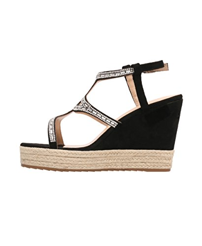 Women Wedge High Heel Platform Bling T-Bar Espadrilles Sandals Summer Shoes 3-8 Black ruNHRmMb