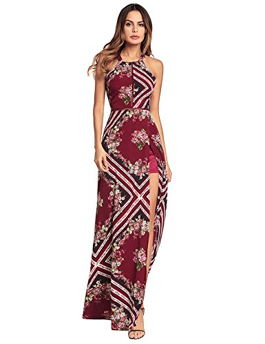 ROPALIA Women's Floral Print Boho Maxi Dress Backless Halter Sleeveless Beach Long Dress
