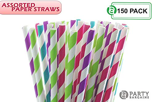 Party Bargains Paper Straws | Biodegradable & Reusable Assorted Rainbow Stripe Drinking Large Straw | Perfect for Juices, Shakes, Smoothies, Party Supplies, Arts & Crafts | 150 Counts ()