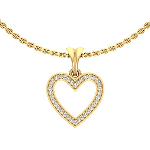 14K Or jaune 0.18CT TW Round-cut-diamond (IJ | SI) diamant Pendentif