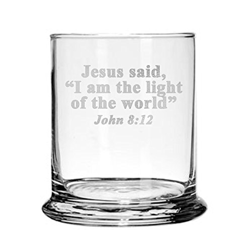 Engraved Candle Holder (Glass Candle Holder Engraved with Bible Verse Prayer Religious Gift)