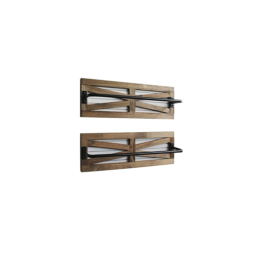 2PCS Rustic Towel Rack for Bathroom Wall Mounted, Wall Mounted Wood Hanging Bathroom Towel Holder and Organizer for…
