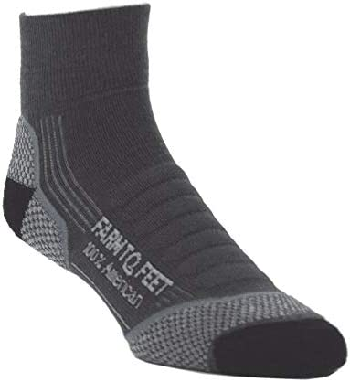 Image of the Farm to Feet Damascus socks, in black and gray color combinations.