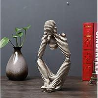 ONEVER Scultrice pensatore meditatore Resina Naturale Arenaria intagliata a Mano Statuette Moderne di Figurine Home Decor Artigianato 3 Stili