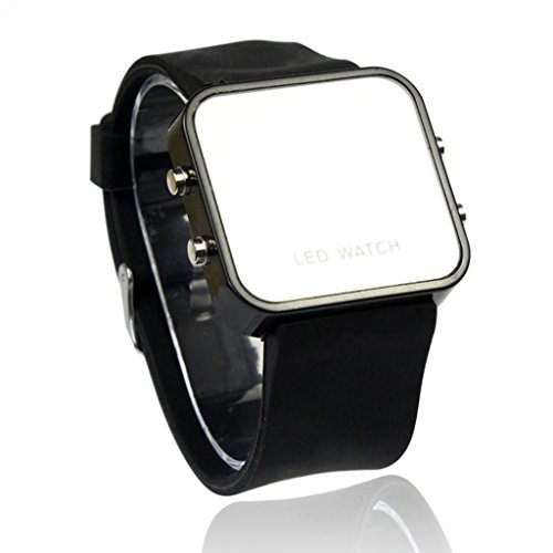 POTO 2017 New Waterproof LED Digital Calendar Day/Date Silicone Sport Mirror Faceless Unisex Watch (Black Mirror Dial)