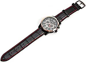 Curren Men's Black Dial Leather Band Watch [8140-black & gold]