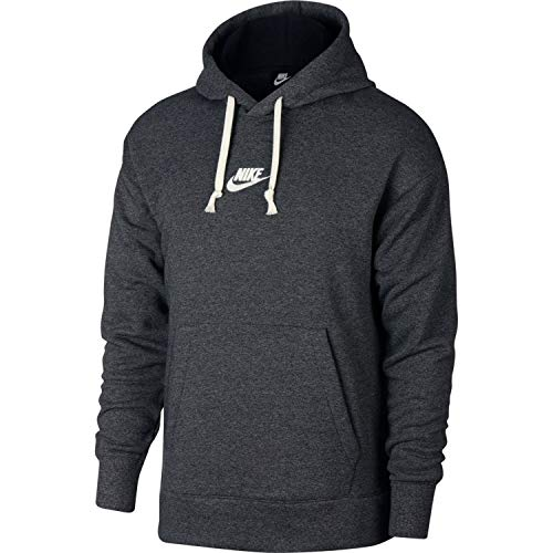 NIKE Mens Heritage Pull Over Hoodie Dark Grey Heather/Sail 928437-010 Size Medium (Nike Terry Pullover)