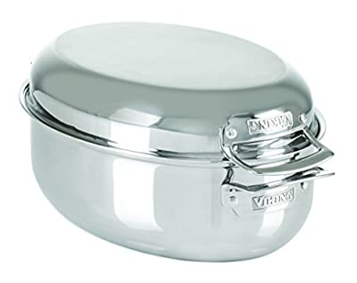 Viking Culinary 3-Ply Stainless Steel Oval Roaster with Metal Induction Lid and Rack, 8.5 Quart