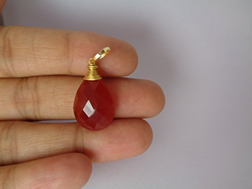 Faceted Natural Carnelian Color Chalcedony Wire Wrapped Pendant, Gold Plated Teardrop - Faceted Pendant Stone