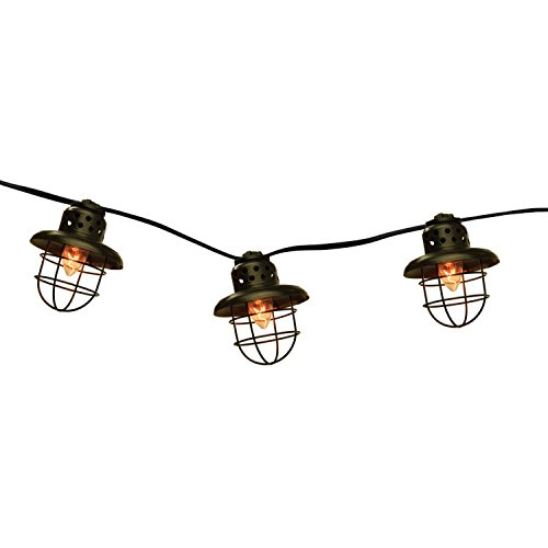 Set of 10 Black Metal Caged Fisherman Lantern Summer Garden Patio Lights - Black Wire - (Light Fishermans Outdoor)