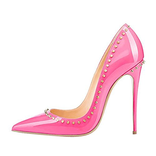 Rivets Studded Pointed CyhfO Party Toe Shoes High Pumps Heel Dress Jushee Rose Women's RawqYqO