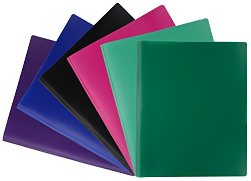 Prong Fashion - Emraw Laminated Fashion 2 Pocket Poly File Portfolio Folder with Three-Prong Fasteners - Used for Papers, Loose-Leafs, Business Cards, Compact Discs, Etc. (5-Pack)