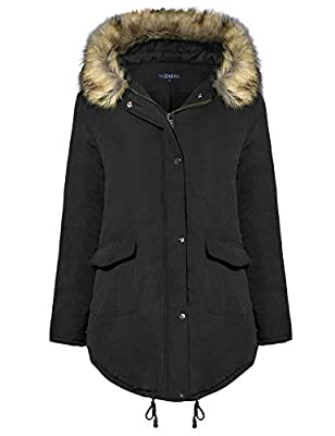 A Blues Man Womens Parka Jacket Hooded Winter Faux Fur Warm Long Coats