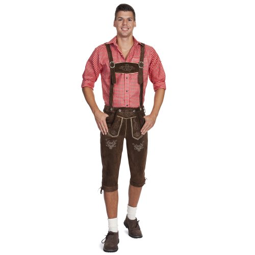 Gaudi-leathers-Mens-Trachten-Lederhosen-Bavarian-Oktoberfest-Trousers-Long-Brown