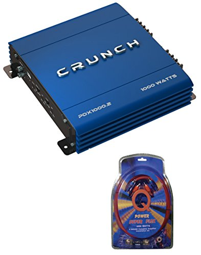 Crunch PowerDriveX 1000W 2 Channel Blue A/B Car Amplifier + 4-Gauge Wiring Kit by Crunch