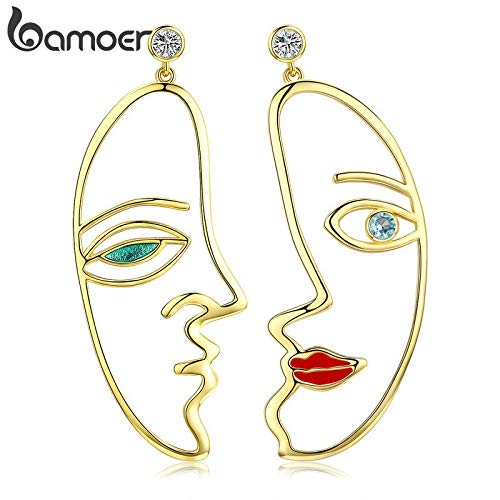 er Color Hyperbole Picasso Face Drop Earrings for Women Clear CZ Wedding Engagement Jewelry YIE131 ()