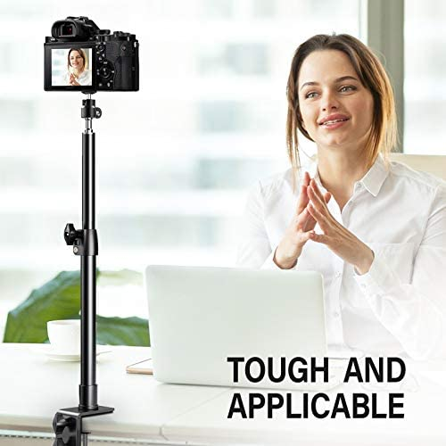 "Pixel Desk Camera Mount Stand, 12.9-22 inch Tabletop C Clamp Mount Stand, Adjustable Aluminum Light Stand with 360° Rotatable Ball Head, Standard 1/4"" Screw Tip for DSLR Camera/Ring Light/Video Light"