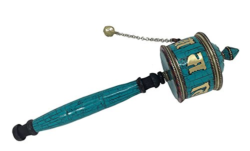 Inlay Scroll (Tibetan Buddhist Symbols Om Mani Padme Hum Hand Crafted Handheld Size Spinning Spiritual Prayer Wheel Brass With Tibetan Stones Inlay (Mani Wheel) (Turquoise))