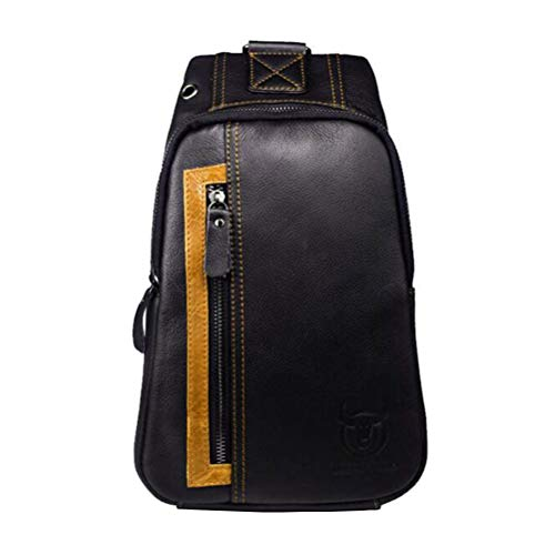Shoulder 3 Bag Hiking Sport Men's Travel 1 Leather Sling Black Genuine Black Daypack For Casual Business Chest Messenger C5Zgwq