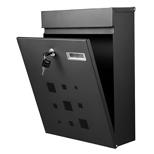 Mailsafe Locking Mailbox (FDegage Modern Vertical Wall Mounted Mailbox Galvanized Steel Lockable Wall Mount Security Letterbox Newspaper Post Box (01 Black))