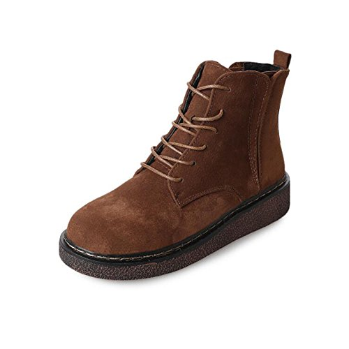 Comfity Martin Boots, Round Toe Combat Boot For Women Lace Up Flat Booties Brown