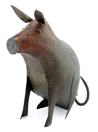 AuldHome Farmhouse Decor Metal Pig Figurine; 8-Inch Distressed Vintage Style Farm Animal Home and Garden Decor from AuldHome Design