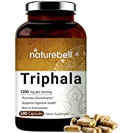Triphala 1200mg (Made with Organic Triphala), 180 Capsules, Powerfully Supports Digestive Health, Weight Loss, Fat Burn and Detoxification, No GMOs and Made in USA