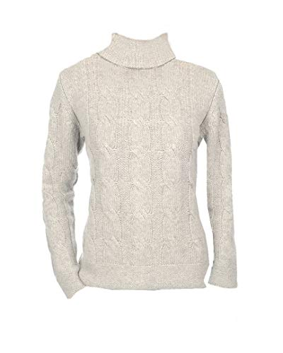 Damen Pullover Zopfmuster Rollkragen Fädig 100 Hellgrau Xxl 12 Balldiri Cashmere XqxEft