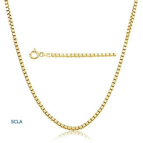Gold Chain Necklace 1mm Diamond Cut box Chain 24K 30X Thicker Than Any Overlay. USA Made. (22)