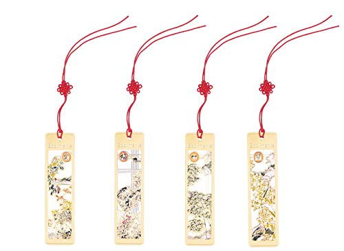 WONBSDOM Chinese-Style Metal Bookmarks 4 Pcs Chromatic Color Golden Hollow with Red Chineses Knotting Strap & Flowers-Plum Blossom,Orchid,Bamboo,and Chrysanthemum,Ideal Gift for Friends and Family