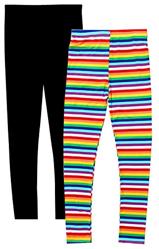 Rainbow Bright Leggings - Syleia Girl Leggings Bright Stripes (Small,