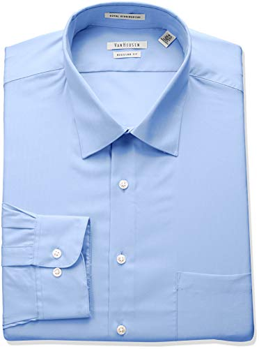 Van Heusen Men's Herringbone Regular Fit Solid Spread Collar Dress Shirt, Blue Cloud, 15.5