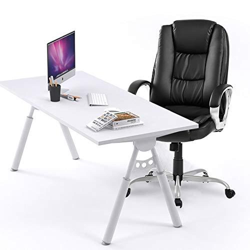 Executive kontorsstol stor dator hem läder svängbar justerbar hög rygg ergonomisk design synkrolutningsmekanism, 360 graders vridning, svart