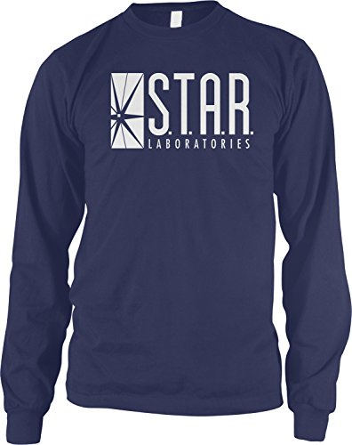 Star Sleeve Long Youth - Amdesco Men's Star Laboratories, S.T.A.R. Labs Long Sleeve Shirt, Navy Blue Small