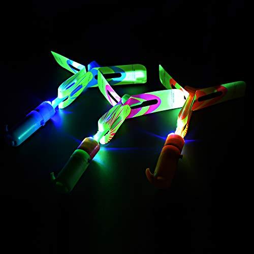 Slingshot flying copters with LED lights