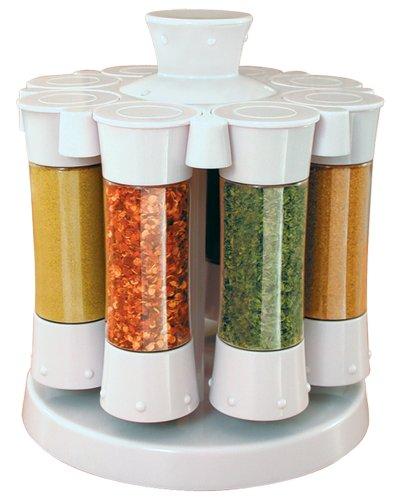 KitchenArt 80080-A Elite Carousel, 8 Auto Measure Jars Without Spices, White