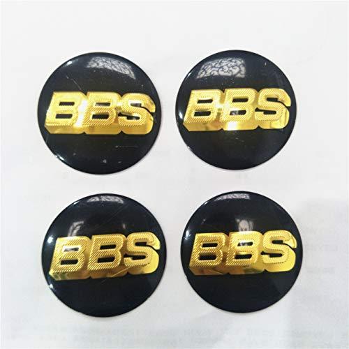 llfaith 4pcs 65mm BBS Sticker Badge Wheel Center hub Caps Domed Emblem Golden/Black #2