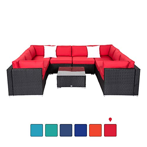 Kinsunny Peach Tree 9Pcs Outdoor Patio Rattan Wicker Sofa Sectional and Chaise Lounge Furniture Set Red