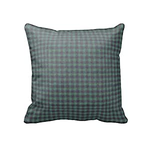 dark green and blue checks fabric throw pillow 16 x 16 in home kitchen. Black Bedroom Furniture Sets. Home Design Ideas