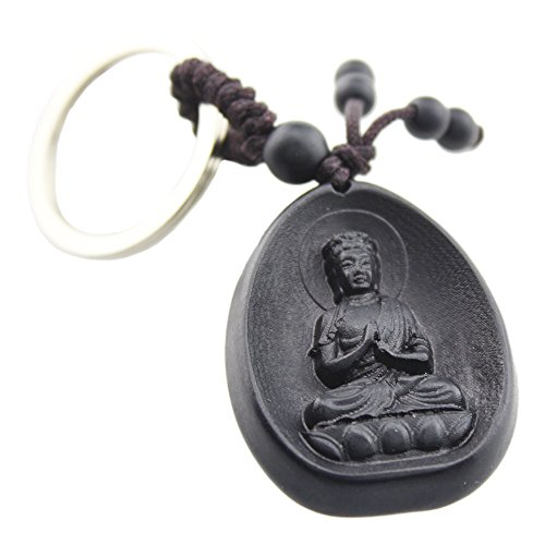 FOY-MALL Tathagata Buddha Ebony Wood Carved Men Women Car/Gift Keychain for Good Luck M1121 (Buddha Keychain)