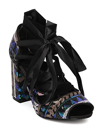CAPE ROBBIN Women Sequinned Block Heel Pump - Lace Up Chunky Heel - Ankle Wrap Pump - HK46 by Mermaid Mix Media KVR5PntwQ
