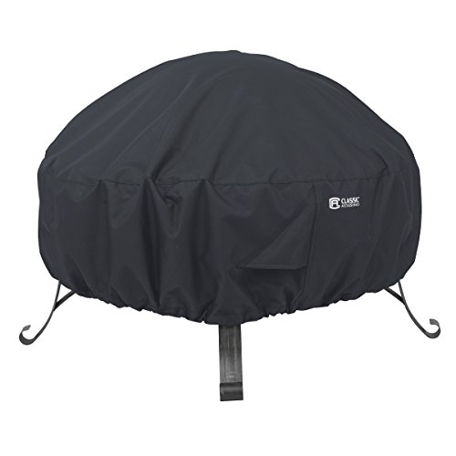 Classic Accessories Round Fire Pit Cover, 30-Inch, Black (Cover With Firepit)