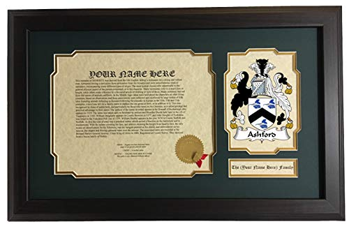 Ashford - Coat of Arms and Last Name History, 14x22 Inches Matted and Framed