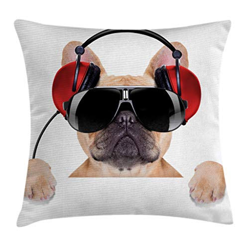 (Ambesonne Popstar Party Throw Pillow Cushion Cover, Dj Bulldog with Headphones Listening to Music Behind White Banner, Decorative Square Accent Pillow Case, 18 X 18 Inches, Light Brown Black Red )