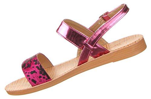 Damen Schuhe Sandalen Luftige Riemchensandalen Pink
