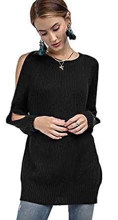 Easel Women's Solid Color Oversized Pullover Cold Shoulder Split Sleeve Crewneck Sweater (Medium/Large, Black)