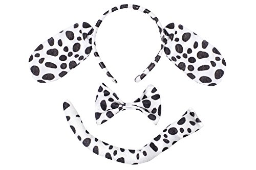 [Cute Animal Headband Ear Set with a Tail and a Bow Tie (Dalmatian Dog)] (Dalmatian Ears)