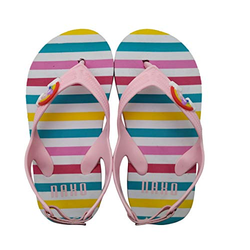 (Naxo Kids' Beach Thong Sandals Toddler Girls Flip Flop Summer Shoe Striped (11M, Pink))
