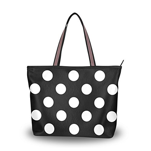 Black MyDaily Large Tote Polka Handbag Classic Women White Bag Dot Shoulder FrqnOFw8